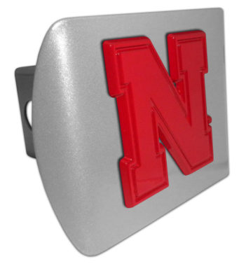 University of Nebraska Red Emblem on Brushed Hitch Cover