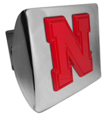 Univresity of Nebraska Red Emblem on Chrome Hitch Cover