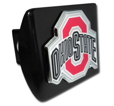 Ohio State Color Emblem on Black Hitch Cover