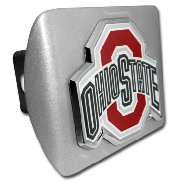 Ohio State Color Emblem on Brushed Chrome Hitch Cover
