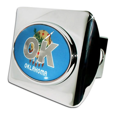 Oklahoma Flag Emblem on Chrome Hitch Cover