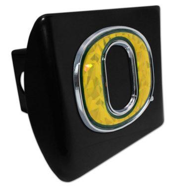 "Oregon Yellow ""O"" Black Metal Hitch Cover"