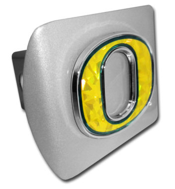 """Oregon Yellow """"O"""" Brushed Metal Hitch Cover image"""