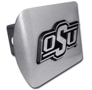 Oklahoma State Emblem on Brushed Hitch Cover