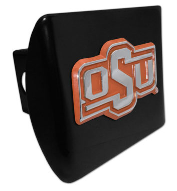 Oklahoma State Orange Emblem on Black Hitch Cover