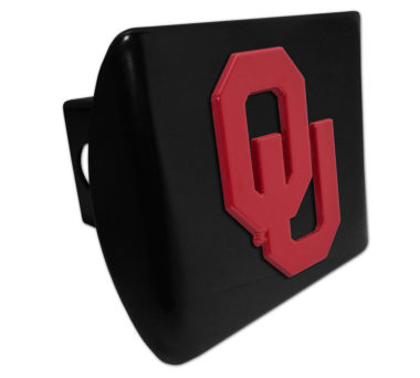 University of Oklahoma Red Emblem on Black Chrome Hitch Cover