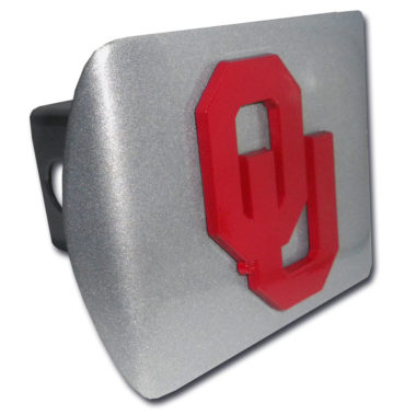 University of Oklahoma Red Emblem on Brushed Hitch Cover