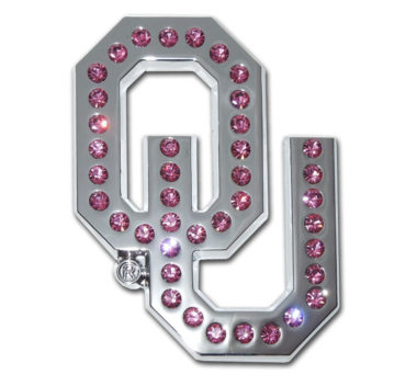 University of Oklahoma Pink Crystal Chrome Emblem