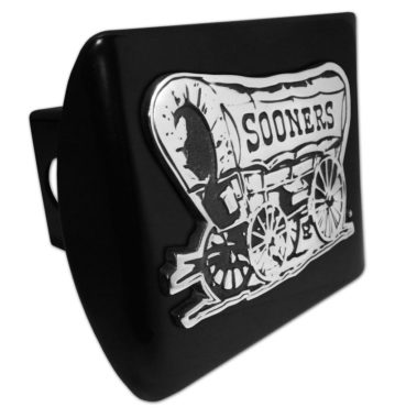 University of Oklahoma Sooners Emblem on Black Hitch Cover