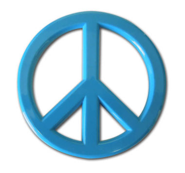 Peace Sign Blue Acrylic Emblem