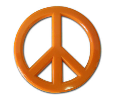 Peace Sign Orange Acrylic Emblem