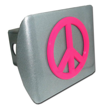 Peace Sign Pink Emblem on Brushed Hitch Cover