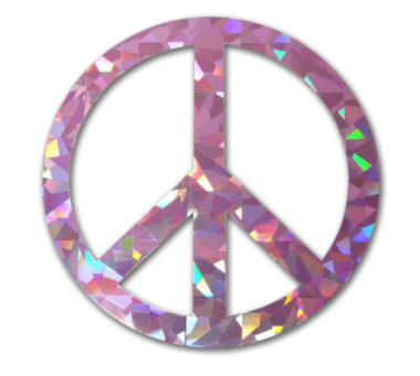Peace Sign Pink Reflective Decal