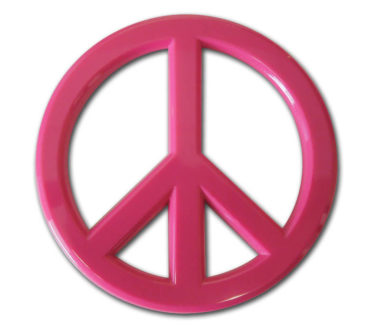 Peace Sign Pink Acrylic Emblem