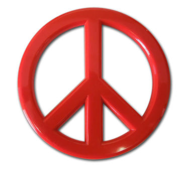 Peace Sign Red Acrylic Emblem