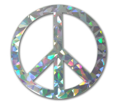 Peace Sign Silver Reflective Decal
