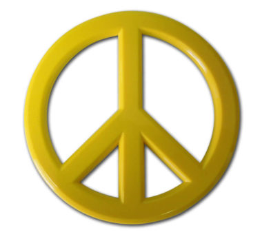 Peace Sign Yellow Acrylic Emblem