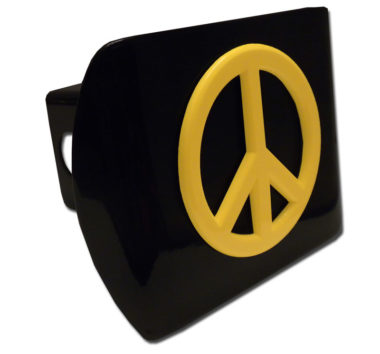 Peace Sign Yellow Emblem on Black Hitch Cover