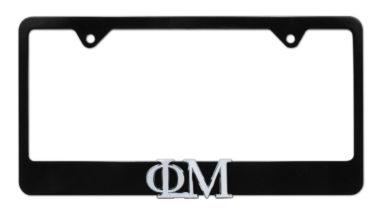 Phi Mu Black License Plate Frame image