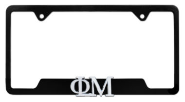 Phi Mu Sorority Black Open License Plate Frame