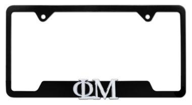 Phi Mu Sorority Black Open License Plate Frame