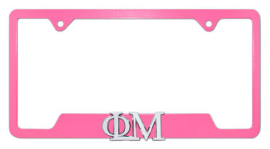 Phi Mu Sorority Pink Open License Plate Frame