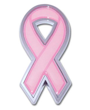 Pink Ribbon Chrome Emblem