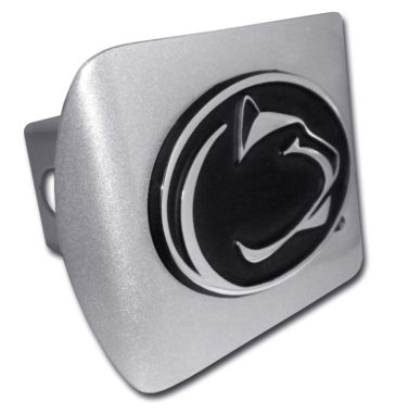 Penn State Black Emblem on Brushed Hitch Cover