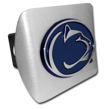 Penn State Navy Emblem on Brushed Chrome Hitch Cover