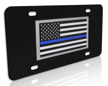 Thin Blue Line Police Flag Black License Plate image