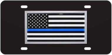 Police Flag Black License Plate image