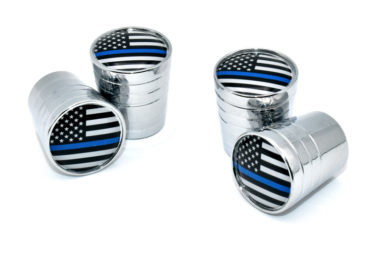 Police Flag Valve Stem Caps - Chrome Smooth image