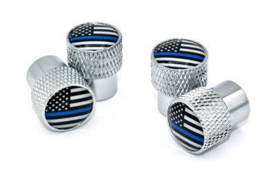 Police Flag Valve Stem Caps - Chrome Knurling