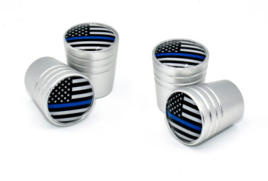 Police Flag Valve Stem Caps - Matte Smooth image