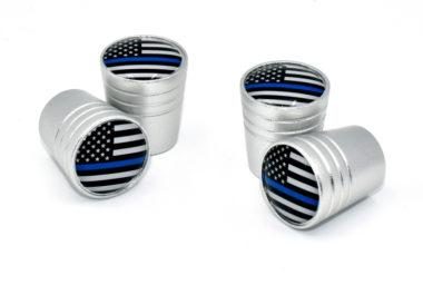 Police Flag Valve Stem Caps - Matte Smooth image