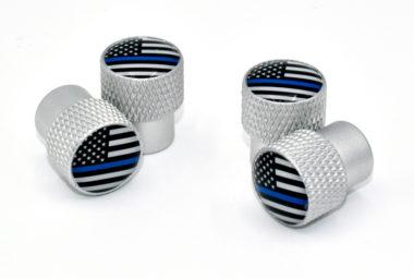 Police Flag Valve Stem Caps - Matte Knurling