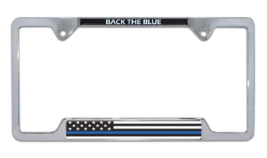Police Flag Open Chrome License Plate Frame image