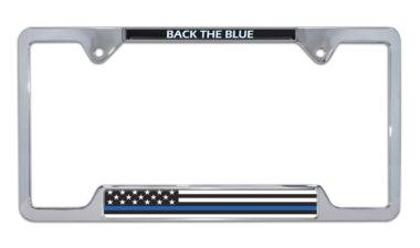 Police Flag Open Chrome License Plate Frame