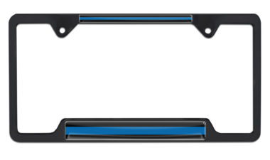 Police Blue Line Open Black License Plate Frame image