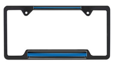Police Blue Line Open Black License Plate Frame image