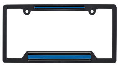 Police Blue Line Open Black Plastic License Plate Frame