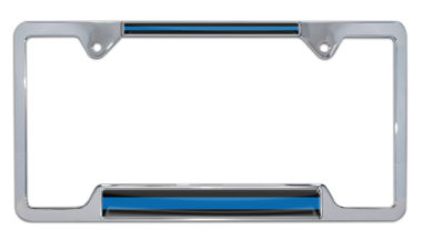 Police Blue Line Open Chrome License Plate Frame image