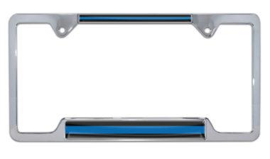 Police Blue Line Open Chrome License Plate Frame image