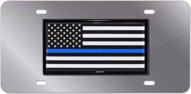 Police Flag Stainless Steel License Plate