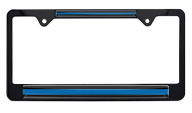 Police Thin Blue Line Black License Plate Frame