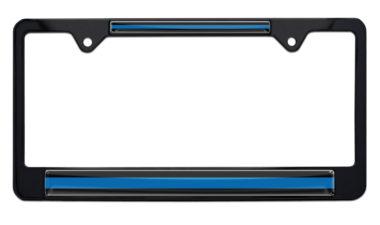 Police Thin Blue Line Black License Plate Frame image
