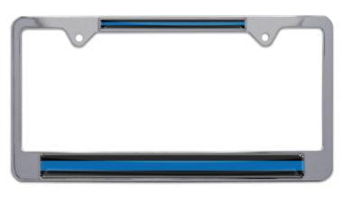 Police Blue Line Chrome License Plate Frame