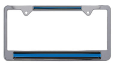 Police Blue Line Chrome License Plate Frame image