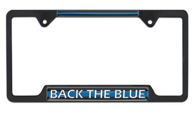 Police Back the Blue Open Black License Plate Frame image