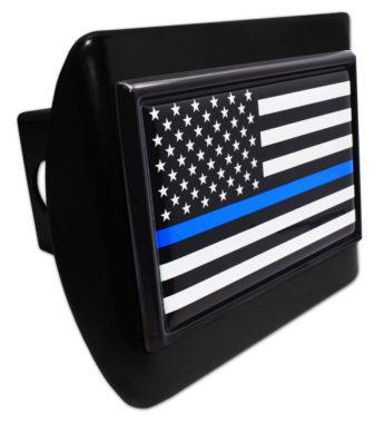 Police Flag Black on Black Hitch Cover